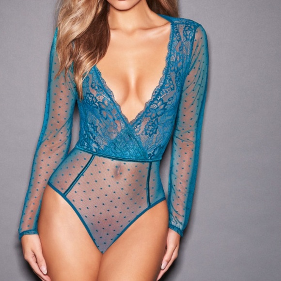 Frederick's of Hollywood Other - PEACH ALICIA LACE SATIN BODYSUIT (Color: Black)